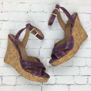 Jeffrey Campbell Snake Print Wedge Sandals Sz 7.5